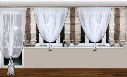 Woal Firany Panele Wachlarze Balkon Karnisz 45 5m